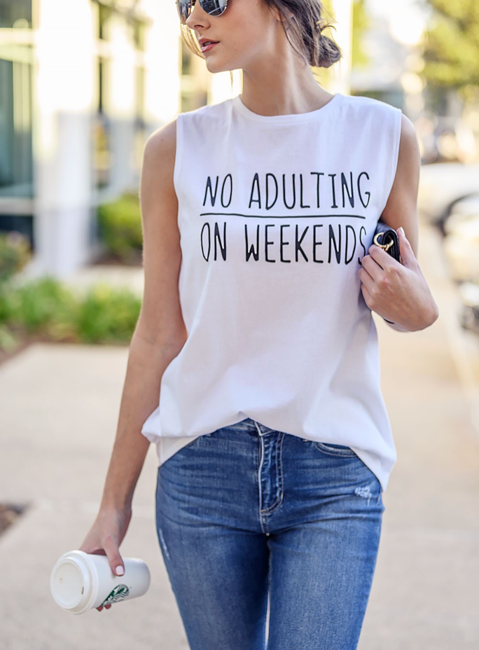 X No Adulting Tank - White- FINAL SALE - Smith & Vena Online Boutique