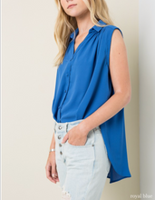 Load image into Gallery viewer, Reign Sleeveless Blouse - Cobalt- FINAL SALE
