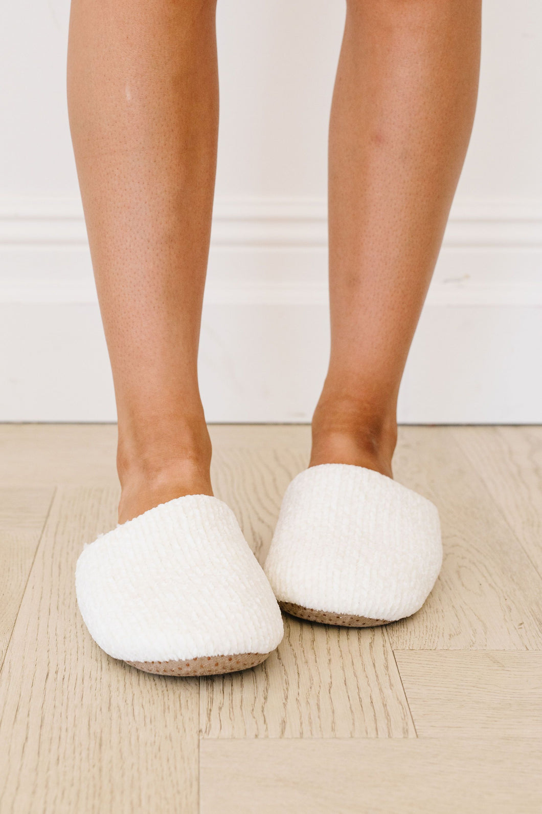 Chenille Slippers In Ivory - Smith & Vena Online Boutique