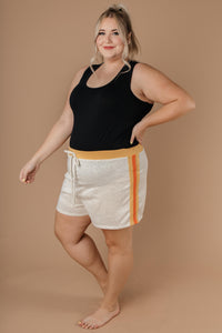 Sporty Stripe Shorts In Oatmeal - Smith & Vena Online Boutique