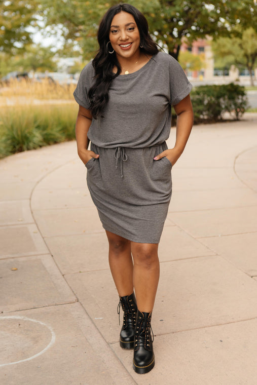 The Day Out Dress in Charcoal - Smith & Vena Online Boutique