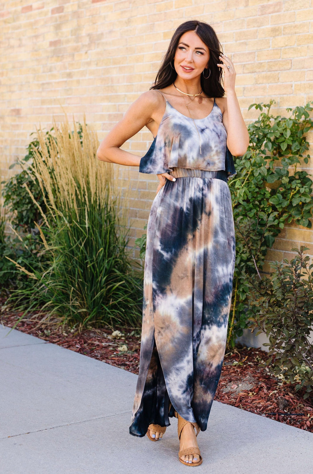 Timeless Neutral Tie Dye Maxi Dress - Smith & Vena Online Boutique