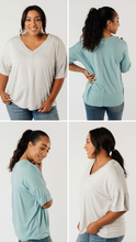 Load image into Gallery viewer, Top Stitch V-Neck In Heather Gray - Smith & Vena Online Boutique