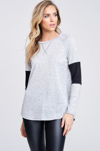 Marion Color block Longsleeve - Heather Grey
