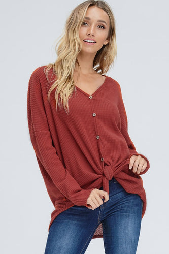 Faye Button Down Henley - Red