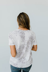 Fading Away Leopard V-Neck In Gray - Smith & Vena Online Boutique