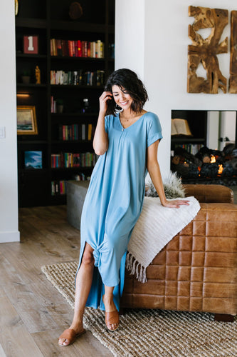 Free And Easy Maxi Dress- Chambray - Smith & Vena Online Boutique
