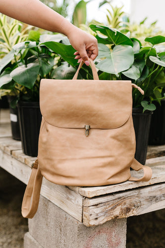 Girl On The Go Backpack- Camel - Smith & Vena Online Boutique