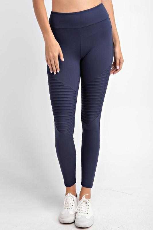 Soft As Butter Moto Leggings in Navy - Smith & Vena Online Boutique