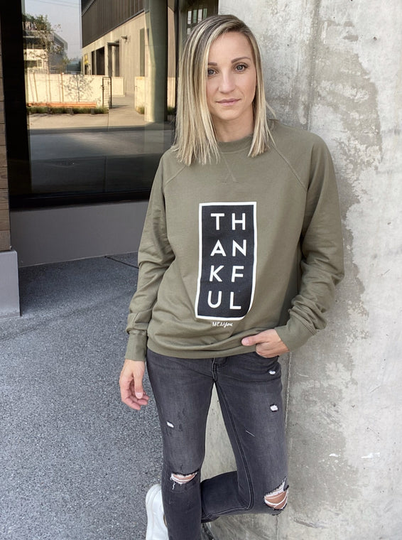 Thankful Longsleeve Graphic- Olive - Smith & Vena Online Boutique
