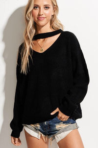 X Michaela Keyhole Sweater - Black