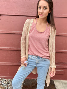 Hazel Stripe Long Sleeve- Rose - Smith & Vena Online Boutique