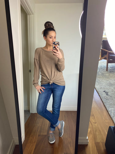 Manhattan Long Sleeve Top- Camel