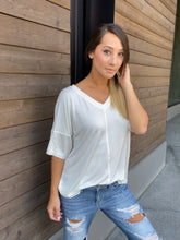 Load image into Gallery viewer, Top Stitch V-Neck In Off-White - Smith & Vena Online Boutique
