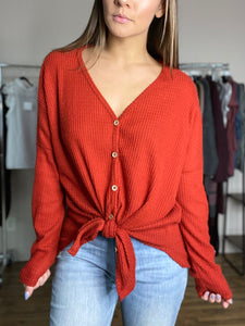 Faye Button Down Henley - Red - FINAL SALE - Smith & Vena Online Boutique