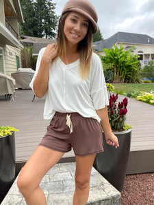 24/7 Shorts In Mocha SAMPLE - Smith & Vena Online Boutique