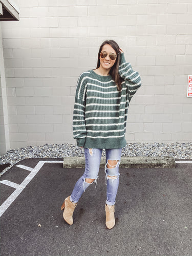 Jody Stripe Sweater- Sage - Smith & Vena Online Boutique