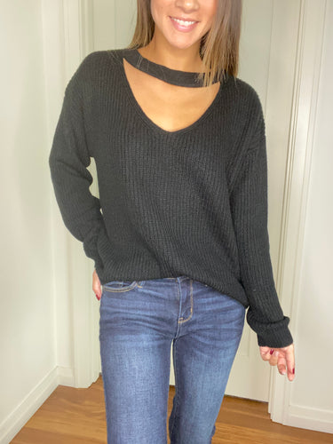 Michaela Keyhole Sweater - Black - Smith & Vena