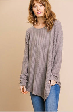 Tiffany Thermal Knit Top - Mocha Grey