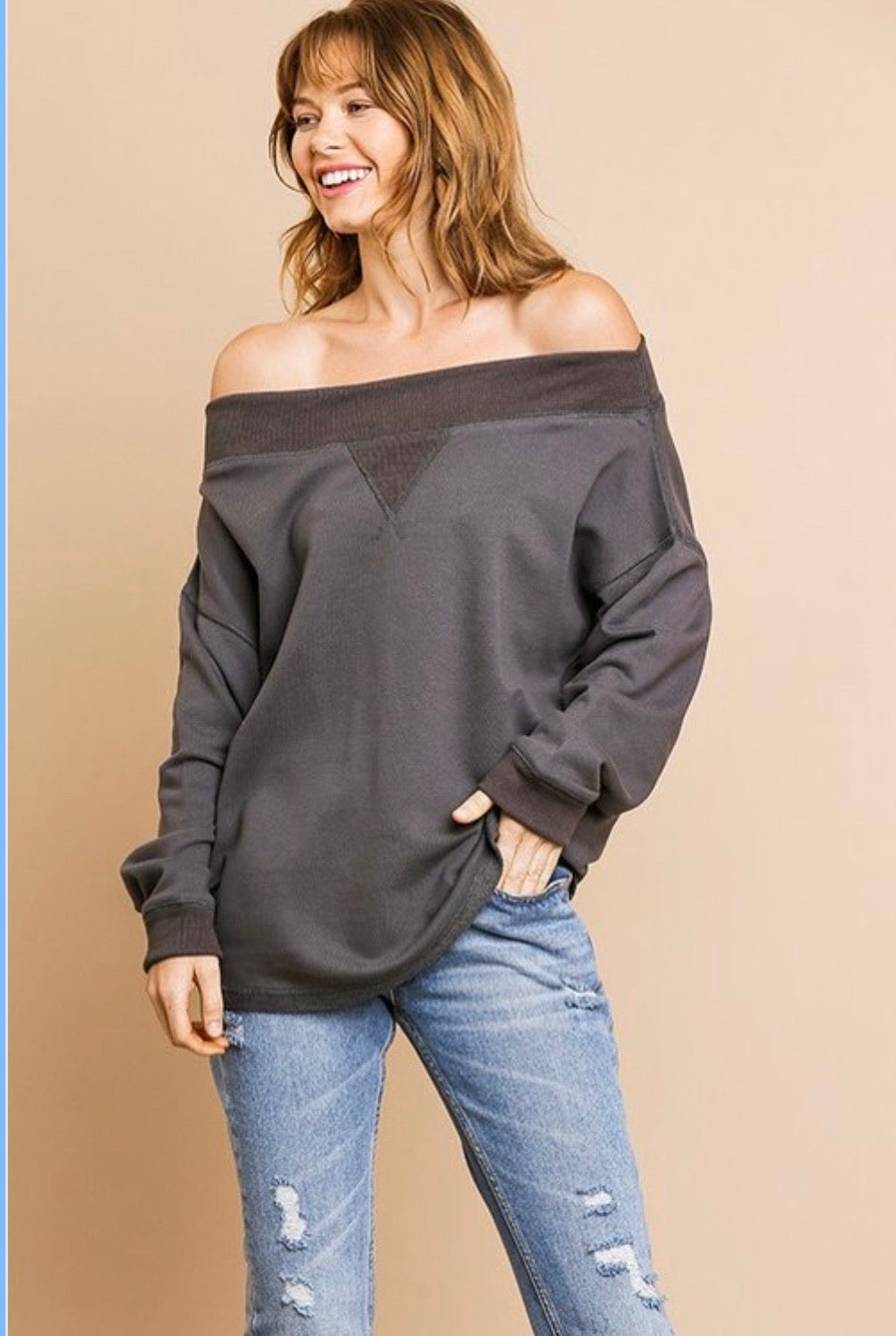 Cora Off the Shoulder Top - Charcoal