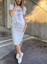 Load image into Gallery viewer, Striped Drawstring Skirt In Gray - Smith & Vena Online Boutique