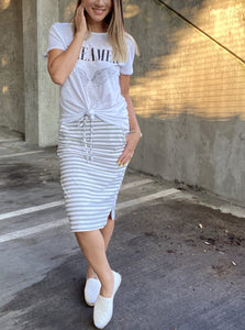 Striped Drawstring Skirt In Gray - Smith & Vena Online Boutique