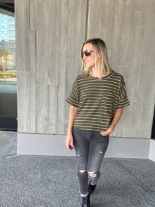 Mila Striped Tee In Olive