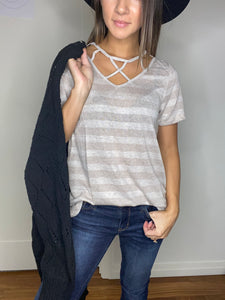 Lucy Cage Neck Top- SAMPLE - Smith & Vena Online Boutique