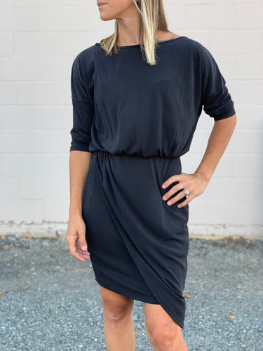 Tanya Surplice Dress - Black