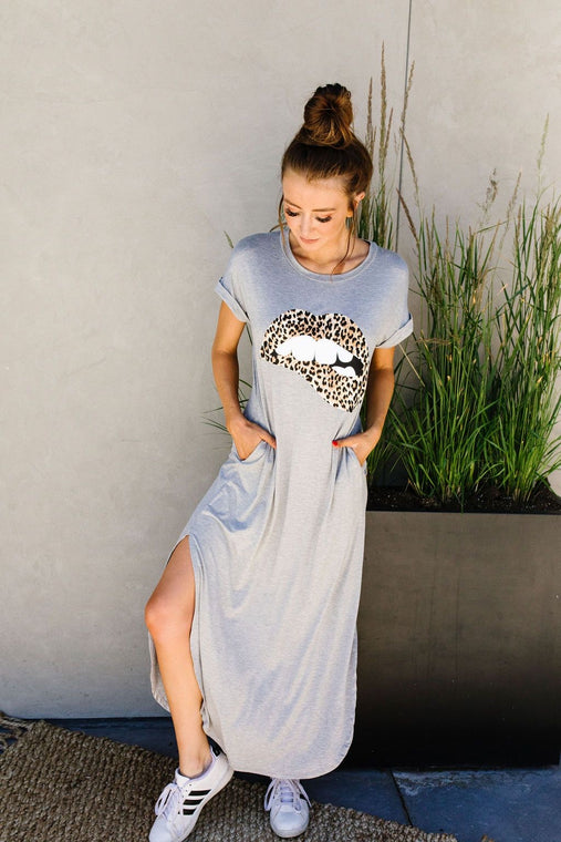 Don't Give Me Any Lip Maxi In Heather Gray - Smith & Vena Online Boutique