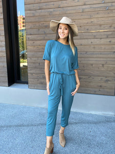 Girl Next Door Jumpsuit In Jade - Smith & Vena Online Boutique