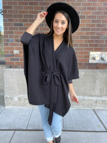 Perfect Poncho Cardigan in Black - Smith & Vena Online Boutique