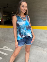 Load image into Gallery viewer, Teal Waters Crisscross Tie Dye Tank - Smith & Vena Online Boutique