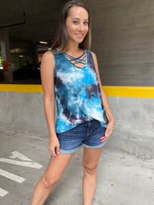 Teal Waters Crisscross Tie Dye Tank - Smith & Vena Online Boutique