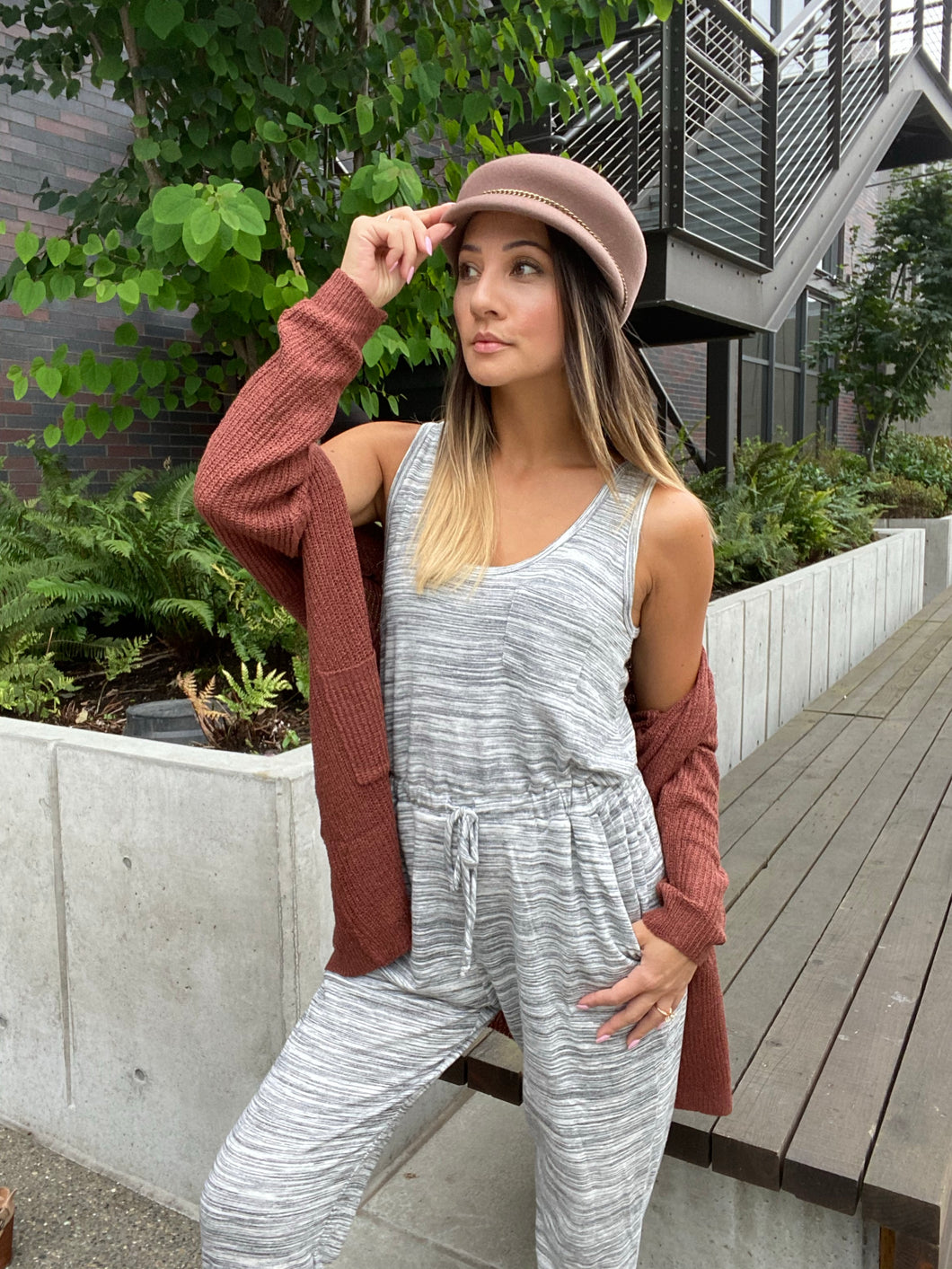 Lounge In Style Melange Jumpsuit - Smith & Vena Online Boutique