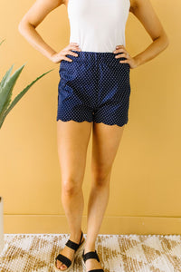 Micro Dot Scalloped Shorts- SAMPLE - Smith & Vena Online Boutique