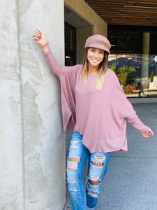 Dylan Oversized Top- Mauve