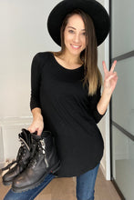 Load image into Gallery viewer, Logan 3/4 Sleeve Top - Black - Smith & Vena Online Boutique