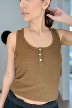 Load image into Gallery viewer, Ribbed Henley Tank - Camel - Smith & Vena