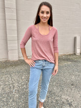 Load image into Gallery viewer, Hazel Stripe Long Sleeve- Rose - Smith & Vena Online Boutique