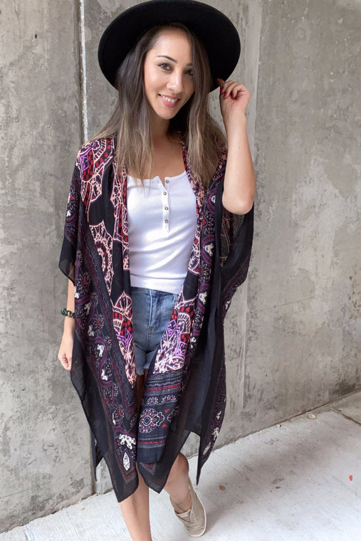 Jasmin Midi Kimono- Black Orchid - Smith & Vena Online Boutique