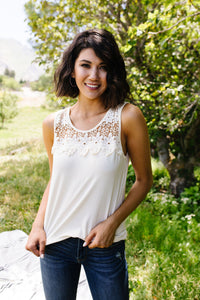 Camberly Lace Tank in Off White - Smith & Vena Online Boutique