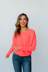 Lounging In Color Top In Neon Coral - Smith & Vena Online Boutique