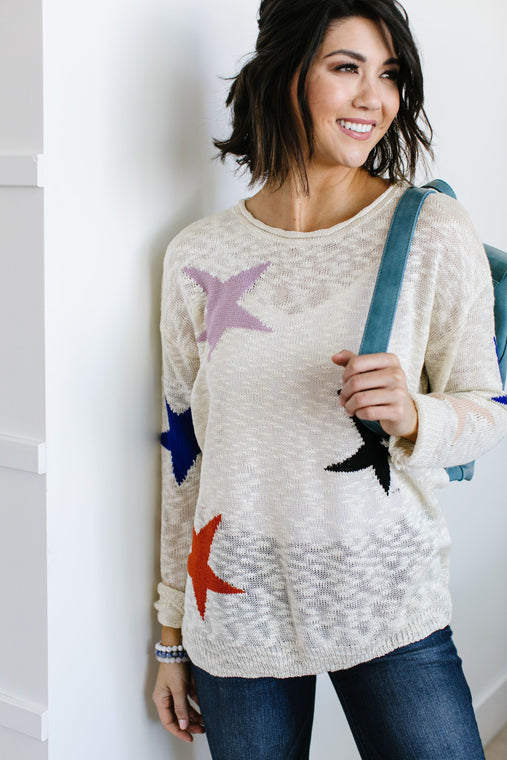Starring You Sweater In Ivory - Smith & Vena Online Boutique
