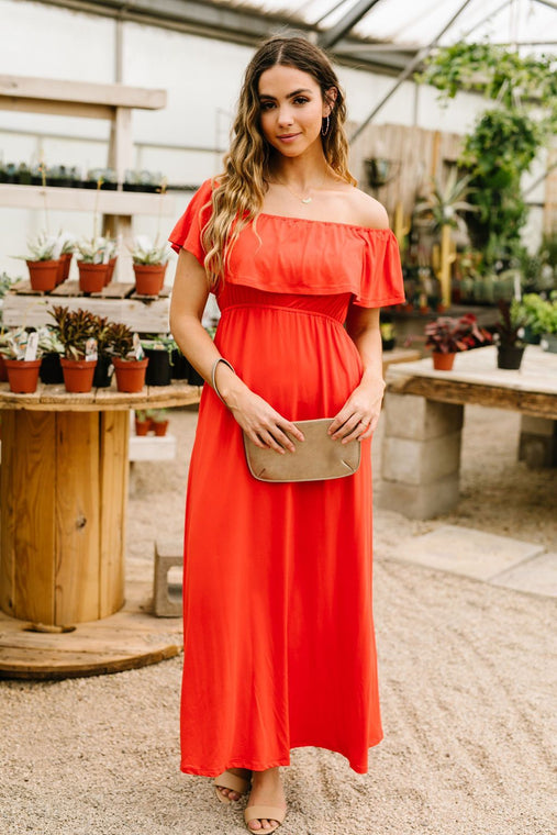 Summer Breeze Ruffled Maxi Dress In Red - Smith & Vena Online Boutique