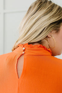 Victoria Lace Mock Neck Top In Orange - Smith & Vena Online Boutique