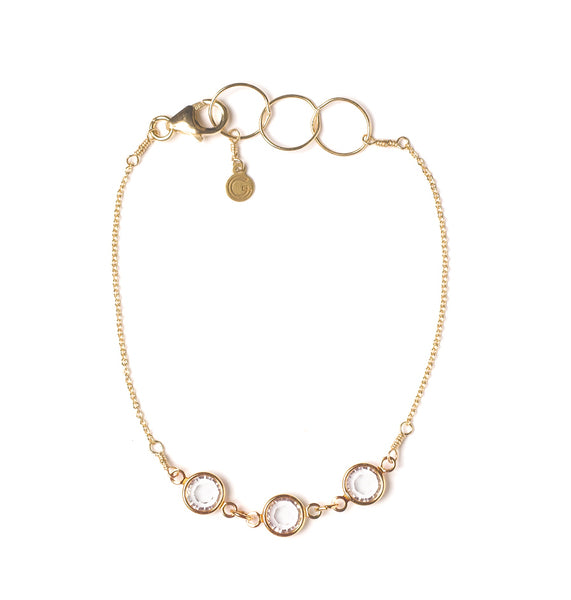 Goldfine: Three Crystal Rose Gold Bracelet