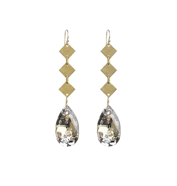 Goldfine: Swarovski Drop + Vintage Chain Earrings