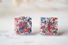 Real Pressed Flowers and Resin Square Stud Earrings in Red Mix
