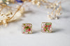 Real Pressed Flowers and Resin Stud Earrings in Pink Green Mix